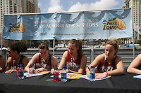 5 April 2008: Stanford Cardinal (L-R) Cissy Pierce, Jeanette Pohlen, Kayla Pedersen, and JJ Hones during Stanford's 2008 NCAA Division I Women's Basketball Final Four open practice autograph session at the St. Pete Times Forum Arena in Tampa Bay, FL.