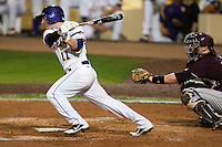 LSU Tigers third baseman Tyler Hanover #11 swings against the Mississippi State Bulldogs during the NCAA baseball game on March 16, 2012 at Alex Box Stadium in Baton Rouge, Louisiana. LSU defeated Mississippi State 3-2 in 10 innings. (Andrew Woolley / Four Seam Images)