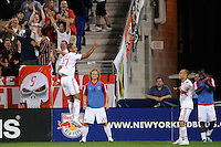 Juan Agudelo (17) of the New York Red Bulls celebrates scoring. The New York Red Bulls defeated Toronto FC 5-0 during a Major League Soccer (MLS) match at Red Bull Arena in Harrison, NJ, on July 06, 2011.