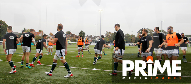 Ealing Trailfinders RFC warm up prior to the Greene King IPA Championship match between Ealing Trailfinders and Bedford Blues at Castle Bar , West Ealing , England  on 29 October 2016. Photo by Carlton Myrie / PRiME Media