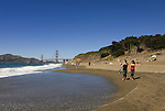San Francisco: Baker Beach with Golden Gate Bridge in background.  Photo # 2-casanf83330.  Photo copyright Lee Foster