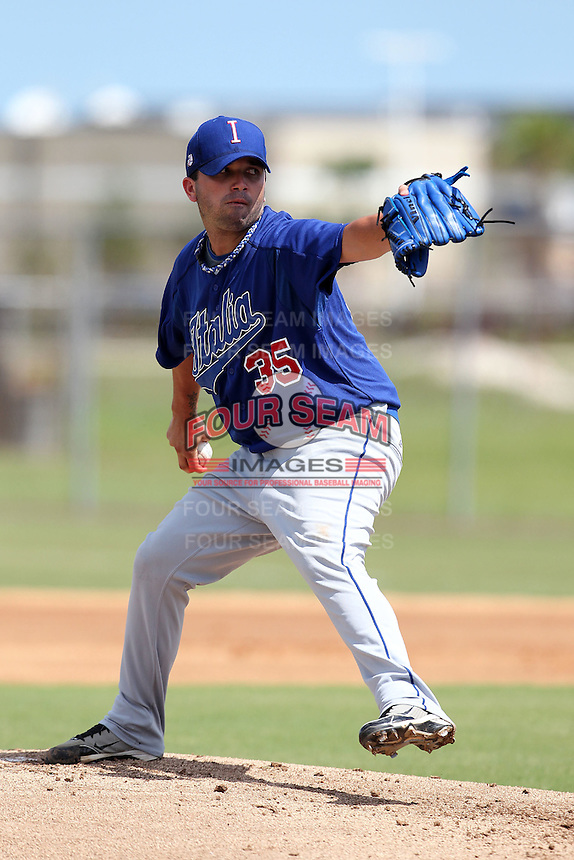 Italy National Team pitcher Tiago Da Silva #35 during an Instructional League game against the Washington Nationals at Carl Barger Training Complex on September 28, 2011 in Viera, Florida.  (Mike Janes/Four Seam Images)