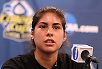 03 December 2011: Stanford's Alina Garciamendez. The Stanford University Cardinal held a press conference at KSU Soccer Stadium in Kennesaw, Georgia the day before playing Duke in the NCAA Division I Women's Soccer College Cup championship game.