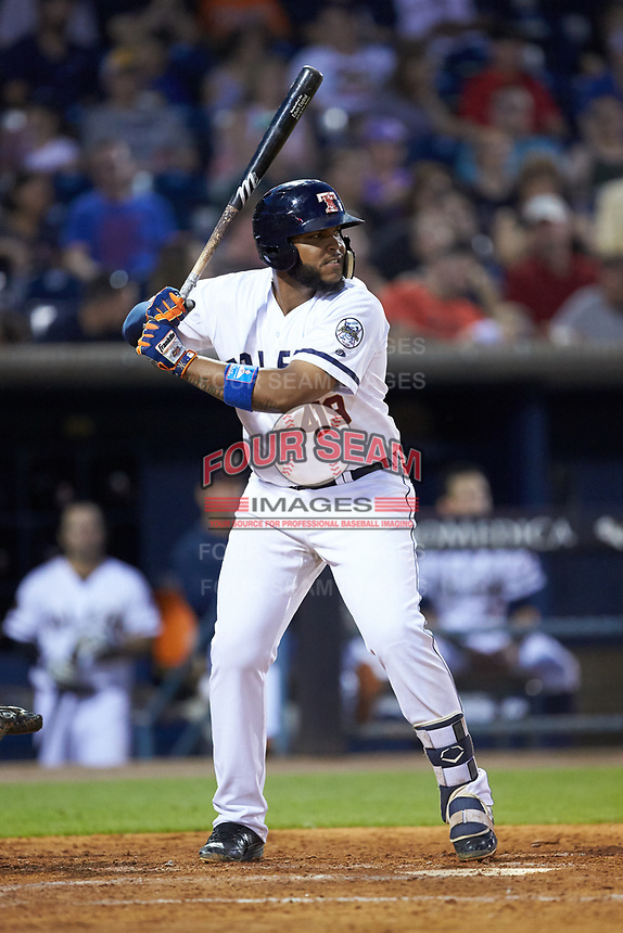 Edwin Espinal (22) of the Toledo Mud Hens at bat against the Louisville Bats at Fifth Third Field on June 16, 2018 in Toledo, Ohio. The Mud Hens defeated the Bats 7-4.  (Brian Westerholt/Four Seam Images)