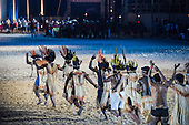 The Xerente delegation parade during the closing event at the International Indigenous Games, in the city of Palmas, Tocantins State, Brazil. Photo © Sue Cunningham, pictures@scphotographic.com 31st October 2015