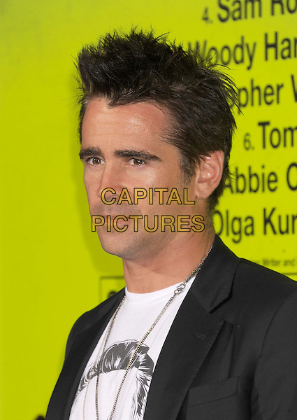 "Colin Farrell.""Seven Psychopaths"" Los Angeles Premiere held at the Bruin Theatre, Westwood, California, USA..October 1st, 2012.headshot portrait  gold necklace black suit white top .CAP/ROT/TM.© TM/Roth/Capital Pictures"