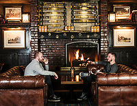 Jake Holshuch and Jake Cox drink whisky at Bull and Bush Brewery in Denver, Colorado, Friday, October 13, 2017.<br /> <br /> Photo by Matt Nager