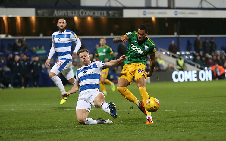 Queens Park Rangers' Jake Bidwell challenges Preston North End's Lukas Nmecha<br /> <br /> Photographer Rob Newell/CameraSport<br /> <br /> The EFL Sky Bet Championship - Queens Park Rangers v Preston North End - Saturday 19 January 2019 - Loftus Road - London<br /> <br /> World Copyright &copy; 2019 CameraSport. All rights reserved. 43 Linden Ave. Countesthorpe. Leicester. England. LE8 5PG - Tel: +44 (0) 116 277 4147 - admin@camerasport.com - www.camerasport.com