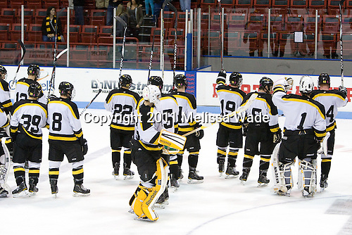 The Leopards salute their fans following the game. - The Wentworth Institute of Technology Leopards tied the visiting Johnson & Wales University Wildcats 2-2 on Sunday, November 20, 2011, at Matthews Arena in Boston, Massachusetts.
