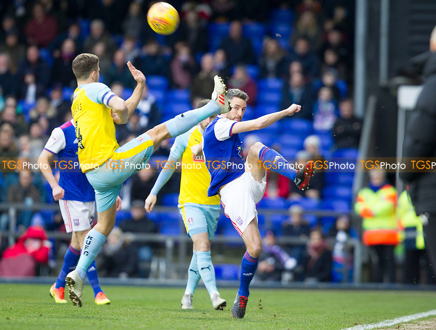 Cole Skuse of Ipswich Town clears under pressure from Will Vaulks of Rotherham United during Ipswich Town vs Rotherham United, Sky Bet EFL Championship Football at Portman Road on 12th January 2019