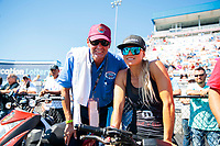 Oct 14, 2019; Concord, NC, USA; NHRA top fuel driver Leah Pritchett (right) with father Ron Pruett during the Carolina Nationals at zMax Dragway. Mandatory Credit: Mark J. Rebilas-USA TODAY Sports