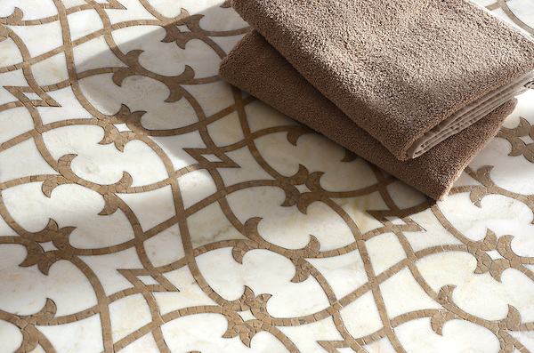 Avila, a handmade mosaic shown in polished Cloud Nine and honed Lavigne, is part of the Miraflores Collection by Paul Schatz for New Ravenna.<br />