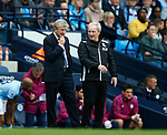 Roy Hodgson manager of Crystal Palace and assistant Ray Lexington during the premier league match at the Etihad Stadium, Manchester. Picture date 22nd September 2017. Picture credit should read: Simon Bellis/Sportimage