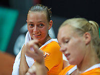 2016, 12 April, Arena Loire, Tr&eacute;laz&egrave;,  Semifinal FedCup, France-Netherlands,  Dutch players Cindy Burger and Kiki Bertens (foreground)<br /> Photo:Tennisimages/Henk Koster
