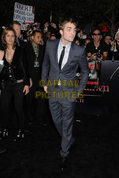 Robert Pattinson.The Los Angeles premiere of 'The Twilight Saga Breaking Dawn Part 1' at Nokia Theatre at L.A. Live in Los Angeles, California, USA..November 14th, 2011.full length rob grey gray suit black tie white shirt.CAP/ADM/BP.©Byron Purvis/AdMedia/Capital Pictures.