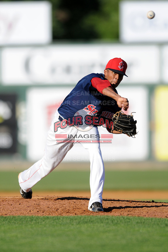Lowell Spinners pitcher Raynel Velette #39 during a game versus the Tri_City Valley Cats at LeLacheur Park In Lowell, Massachusetts on July 1, 2012.   (Ken Babbitt/Four Seam Images)