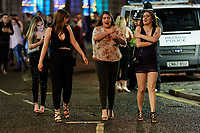 Pictured: Four female revellers. Sunday 31 December 2017 and 01 January 2018<br /> Re: New Year revellers in Wind Street, Swansea, Wales, UK