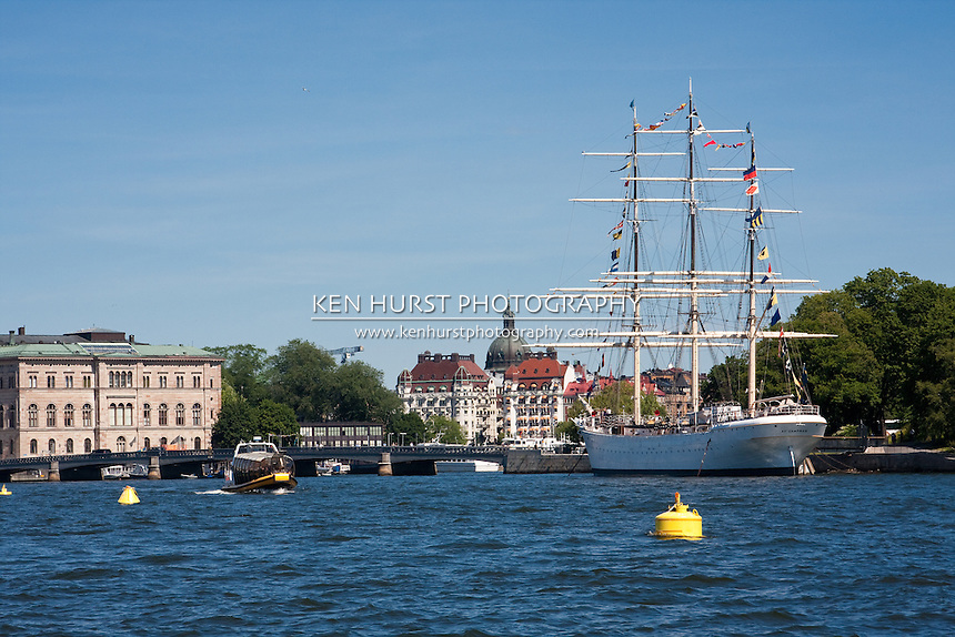 The AF Chapman, a square-rigged tall-ship that is moored at Skeppsholmen, a small island opposite the old town and the Royal Palace in the harbor in Stockholm, Sweden.