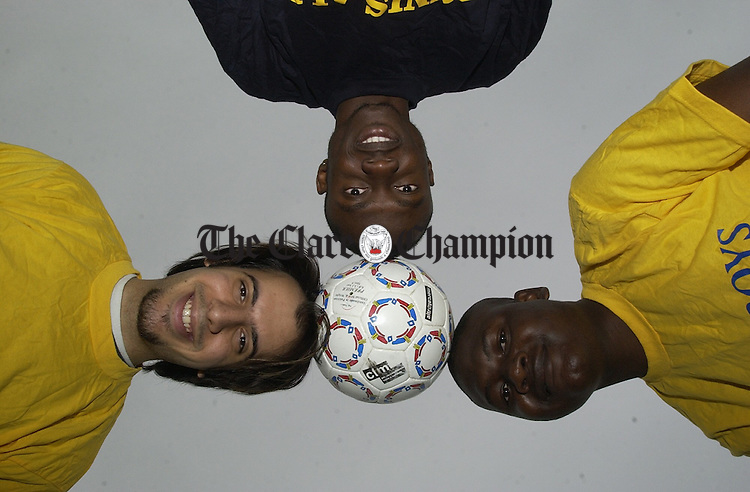 "Ray Al-Juboori, Clement Dada and Abbey Olabiyi, members of the ""Bush Boys"" of Ennis and the ""Ennis All-Stars"" who are going Dublin to take part in the Soccer Against Racism In Ireland tournament. Photograph by John Kelly."
