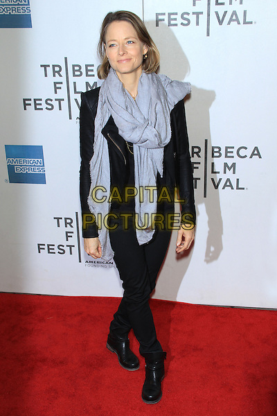 "Jodie Foster.attending the 2013 Tribeca Film Festival Premiere of ""Sunlight Jr."" held at the Tribeca Performing Arts Center, New York, NY, USA, .April 20th, 2013..full length grey gray scarf black leather jacket jeans boots  .CAP/LNC/TOM.©TOM/LNC/Capital Pictures."