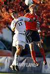 10 November 2010: Virginia's Greg Monaco (right) and Wake Forest's Andy Lubahn (17). The University of Virginia Cavaliers defeated the Wake Forest University Demon Deacons 1-0 at Koka Booth Stadium at WakeMed Soccer Park in Cary, North Carolina in an ACC Men's Soccer Tournament Quarterfinal game.
