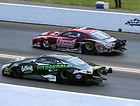 Jun 17, 2018; Bristol, TN, USA; NHRA pro stock driver Alex Laughlin (near) alongside Greg Anderson during the Thunder Valley Nationals at Bristol Dragway. Mandatory Credit: Mark J. Rebilas-USA TODAY Sports