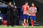 Atletico de Madrid's coach Diego Pablo Cholo Simeone with Jose Maria Gimenez and Koke Resurreccion during La Liga match. July 3,2020. (ALTERPHOTOS/Acero)