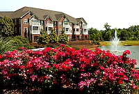 Flowers in bloom at the Post Ballantyne Apartments in Ballantyne, NC, located about 18 miles from downtown Charlotte, NC. Ballantyne, a suburb of Charlotte NC, is located near the South Carolina border. The 2,000-acre mixed-use development was created by land developer Howard C. Smokey Bissell.