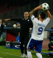 Maurizio Sarriduring the Champions League Group  soccer match between SSC Napoli and   Dinamo Kiev  at the San Paolo  Stadium inNaples November 24, 2016