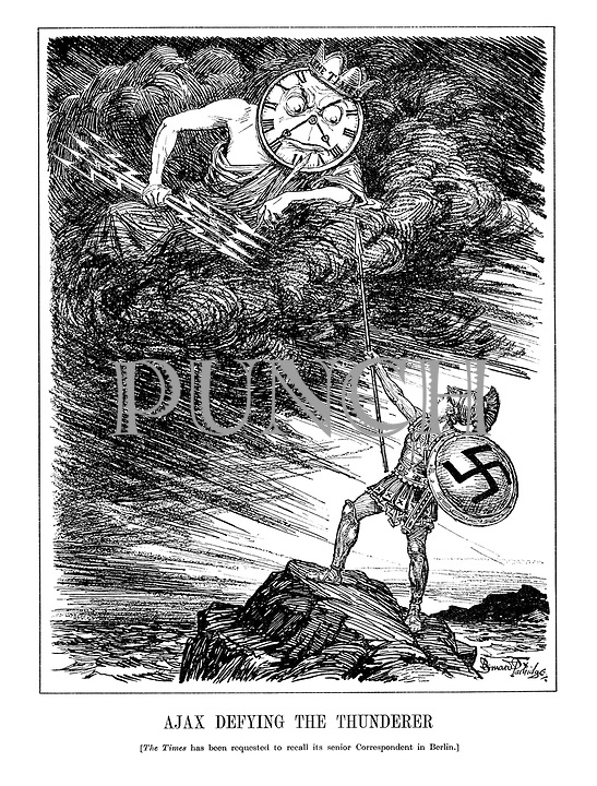 Ajax Defying the Thunderer [The Times has been requested to recall its senior Correspondent in Berlin.] (Hitler as Greek war hero Ajax stands on a mountain threatening The Times newspaper, as Zeus, who patiently paints his lightning bolts with a quill)