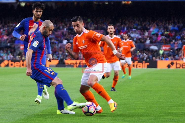 League Santander 2016/2017. Game: 34.<br /> FC Barcelona vs CA Osasuna: 7-1.<br /> Javier Mascherano vs Sergio Leon.