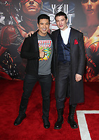 LOS ANGELES, CA - NOVEMBER 13: Mario Lopez, Ezra Miller, at the Justice League film Premiere on November 13, 2017 at the Dolby Theatre in Los Angeles, California. Credit: Faye Sadou/MediaPunch