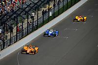 Verizon IndyCar Series<br /> Indianapolis 500 Race<br /> Indianapolis Motor Speedway, Indianapolis, IN USA<br /> Sunday 28 May 2017<br /> Fernando Alonso, McLaren-Honda-Andretti Honda, Takuma Sato, Andretti Autosport Honda, Ryan Hunter-Reay, Andretti Autosport Honda<br /> World Copyright: F. Peirce Williams<br /> LAT Images