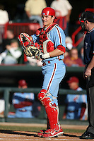 May 29th 2008:  Lou Marson of the Reading Phillies, Class-AA affiliate of the Philadelphia Phillies, during a game at Jerry Uht Park in Erie, PA.  Photo by:  Mike Janes/Four Seam Images