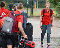 20170725 - TILBURG , NETHERLANDS :  Belgian Yana Daniels (r) pictured going back to Belgium as the Belgian national women's soccer team Red Flames was not able to qualify for the quarter finals after a loss against The Netherlands , on Tuesday 25 July 2017 in Tilburg . The Red Flames finished on 3 th place in Group A at the Women's European Championship 2017 in the Netherlands. PHOTO SPORTPIX.BE | DAVID CATRY
