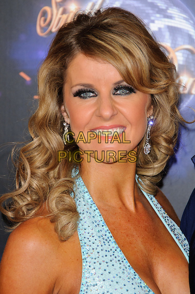 Erin Boag.Strictly Come Dancing launching event held at the BBC Studios. London, England..September 7th, 2011.headshot portrait blue halterneck eyeliner make-up beads beaded .CAP/CJ.©Chris Joseph/Capital Pictures.