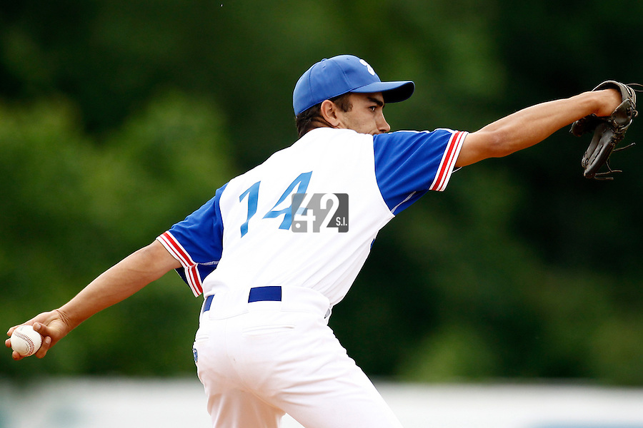 23 June 2011: Thomas Meley of Team France pitches against USSSA during USSSA 5-3 win over France, at the 2011 Prague Baseball Week, in Prague, Czech Republic.
