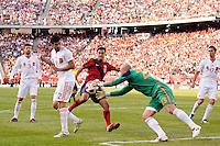 Spain  goalkeeper Jose Manuel Reina (23) denies Chris Wondolowski (11) of the United States. The men's national team of Spain (ESP) defeated the United States (USA) 4-0 during a International friendly at Gillette Stadium in Foxborough, MA, on June 04, 2011.