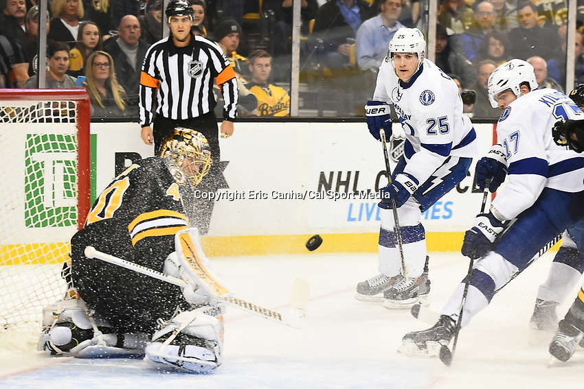 January 13, 2015 - Boston, Massachusetts, U.S. - Boston Bruins goalie Tuukka Rask (40) makes a save during the NHL match between the Tampa Bay Lightning and the Boston Bruins held at TD Garden in Boston Massachusetts. Eric Canha/CSM