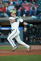 Jake Shepski (0) of the Notre Dame Fighting Irish at bat against the Louisville Cardinals in Game Eight of the 2017 ACC Baseball Championship at Louisville Slugger Field on May 25, 2017 in Louisville, Kentucky. The Cardinals defeated the Fighting Irish 10-3. (Brian Westerholt/Four Seam Images)