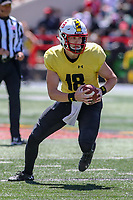College Park, MD - April 27, 2019:  Maryland Terrapins quarterback Max Bortenschlager (18) runs the ball during the spring game at  Capital One Field at Maryland Stadium in College Park, MD.  (Photo by Elliott Brown/Media Images International)
