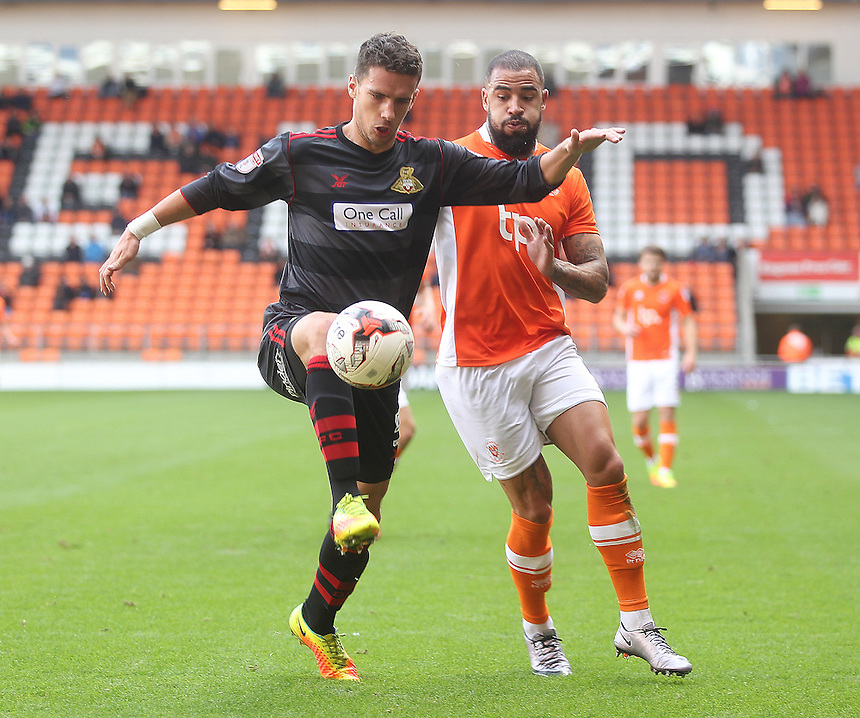 Blackpool's Brad Potts battles with  Doncaster Rovers' Mathieu Baudry<br /> <br /> Photographer Mick Walker/CameraSport<br /> <br /> The EFL Sky Bet League Two - Blackpool v Doncaster Rovers - Saturday 22nd October 2016 - Bloomfield Road - Blackpool<br /> <br /> World Copyright &copy; 2016 CameraSport. All rights reserved. 43 Linden Ave. Countesthorpe. Leicester. England. LE8 5PG - Tel: +44 (0) 116 277 4147 - admin@camerasport.com - www.camerasport.com