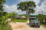 BELIZE, Punta Gorda, Toledo, the view as you enter into Belcampo Belize Lodge and Jungle Farm which was built on lands that date back to the Classic Maya period