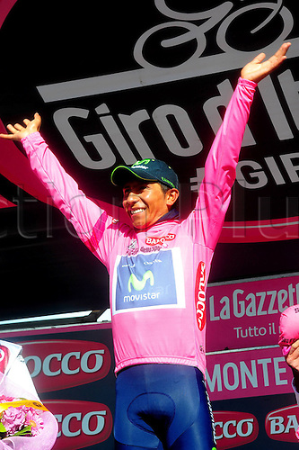 31.05.2014, Maniago to Monte Zoncolan, Italy. Giro D Italia Stage 20.  Movistar 2014, Quintana Rojas Nairo Alexander on the podium in Monte Zoncolan