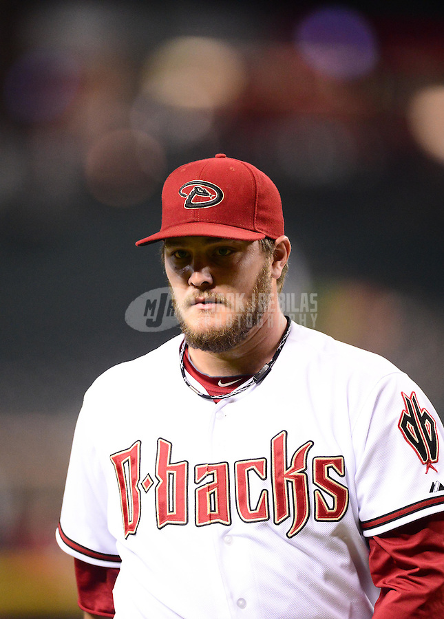 Aug. 28, 2012; Phoenix, AZ, USA: Arizona Diamondbacks pitcher Wade Miley against the Cincinnati Reds at Chase Field. Mandatory Credit: Mark J. Rebilas-
