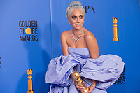 After winning the category of BEST ORIGINAL SONG &ndash; MOTION PICTURE for &quot;Shallow&quot; from &ldquo;A Star Is Born&rdquo;, Lady Gaga poses with the award backstage in the press room at the 76th Annual Golden Globe Awards at the Beverly Hilton in Beverly Hills, CA on Sunday, January 6, 2019.<br /> *Editorial Use Only*<br /> CAP/PLF/HFPA<br /> Image supplied by Capital Pictures