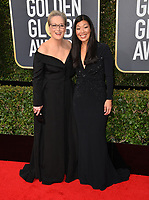 Meryl Streep &amp; Ai-jen Poo  at the 75th Annual Golden Globe Awards at the Beverly Hilton Hotel, Beverly Hills, USA 07 Jan. 2018<br /> Picture: Paul Smith/Featureflash/SilverHub 0208 004 5359 sales@silverhubmedia.com