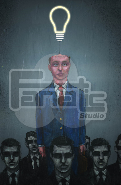 Illustrative image of businessman with electric bulb coming out from head representing individuality