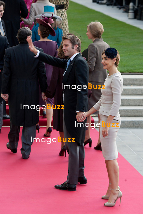 Prince Filiberto of Savoy (L) and his wife, Princess Clotilde Courau ; Crown Prince Guillaume of Luxembourg and Countess Stéphanie de Lannoy, Royal Religious wedding,, at the Cathedral of Our Lady of Luxembourg. October 20, 2012.