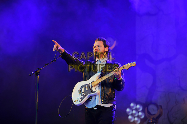 Joe Newman of Alt-J <br /> Performing at Glastonbury Festival, Worthy Farm, Pilton, Somerset, <br /> England, UK, 28th June 2013.<br /> half length playing guitar live on stage concert gig arm finger pointing <br /> CAP/MAR<br /> &copy; Martin Harris/Capital Pictures